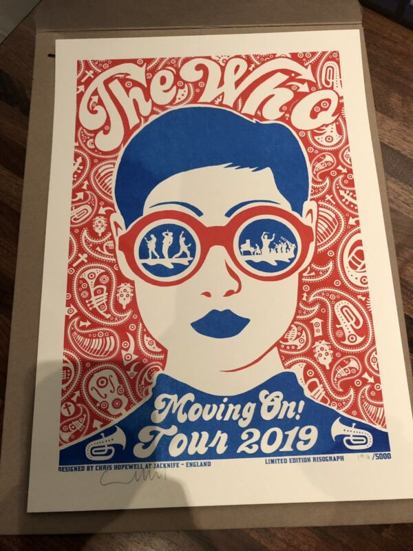 *RARE* 2019 Moving On Tour THE WHO Signed Limited Edition Numbered Poster