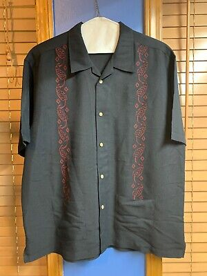 THE HAVANERA CO Men's Button Down Black Shirt W/ Maroon Embroidery Size XL