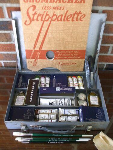 Vintage Grumbacher Artists Oil Colors Paints Set 13 Full Tubes 4 Brushes & More