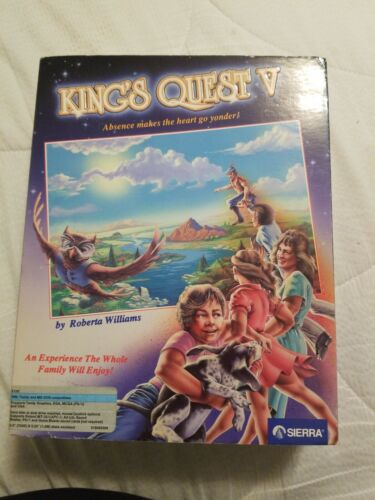 Computer Games - King's Quest V Computer Game / Sierra PC 5.25 Floppy Disks & 3.5 Disks Box Only