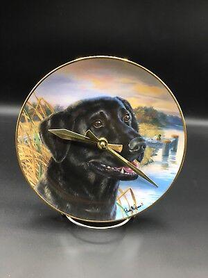 Proud Labrador Dog Collector Plate Made Into A Clock !!
