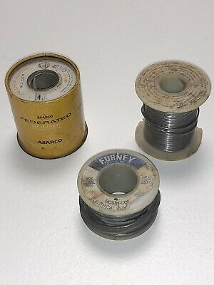 Vintage Lot Of 3 Spools Kester Forneyand Asarco Federated. Rosin Core Solder.