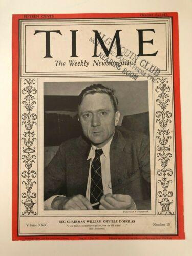1937 Time Magazine cover w/ William O. Douglas AUTOGRAPH - Justice Supreme Court