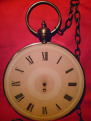 GIANT POCKET WATCH as-is Vintage Wall Hanging Novelty Clock with Metal Chain!!