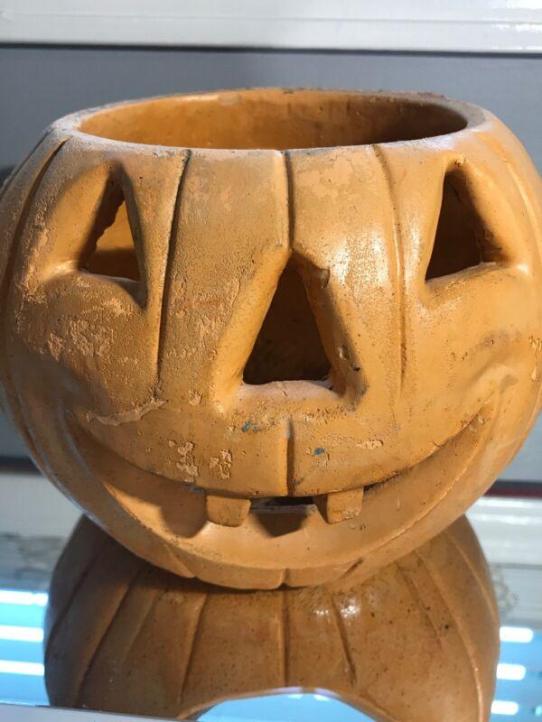 Rare 1979 Vintage Comanche Pottery Pumpkin Jack O Lantern Halloween NO Hat