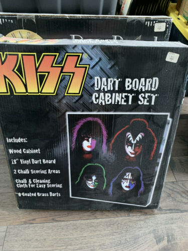 KISS dart board... brand new on box..gene simmons , paul stanley , ace, peter