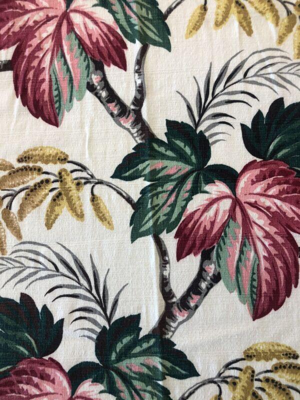 Vintage Barkcloth Tropical Floral Miami Deco Curtain Panels