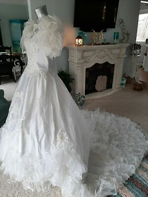 Vintage 80s Alfred Angelo White Wedding Dress Style 9712 - Used