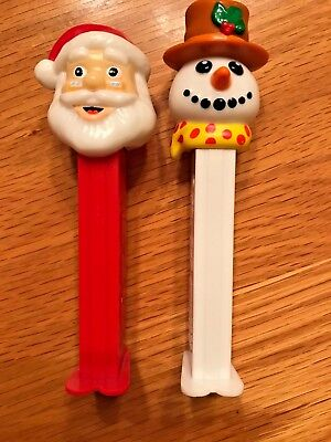 Authentic PEZ dispensers RED Santa Clause & WHITE Frosty the Snowman