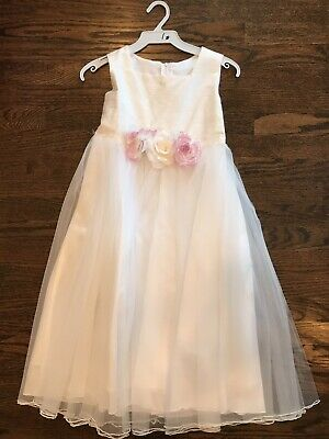 Silk Communion Dress (Kids Dream Girls White Silk Formal Communion Dress With Pink Roses NWT)