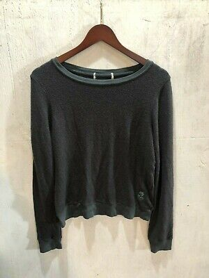 S Wildfox pullover black long sleeve v neck baggy beach jumper sweatshirt sz