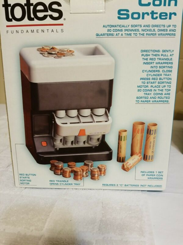 Totes Coin Sorter Automatically Sorts and Directs Up to 20 Coins Collections NIB
