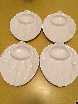 Artichoke Plates White with Butter /Dip Holder (Artichoke Shape) Set of 4