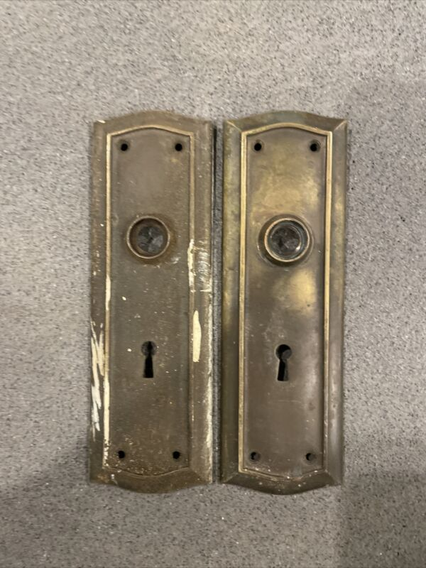 PAIR Antique/Vintage Door Back Plates, Backplate Art Deco/Nouveau, Entry Door