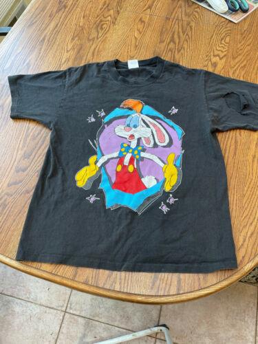 """Vintage """"who framed roger rabbit"""" t shirt 1987 size L thrashed"""