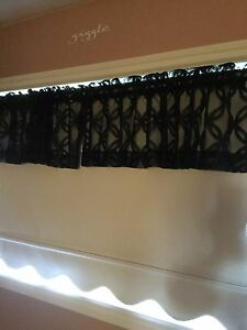 Black lace curtain Toppers