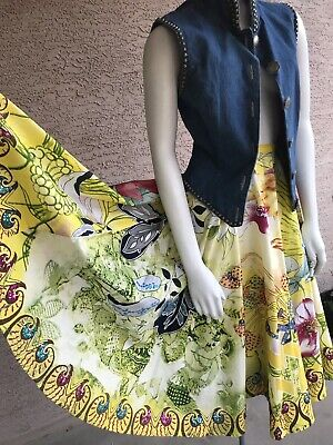 Vtg 50s 60s Style Circle Skirt Floral Swing Square Dance 3d Sequin beads ARTSY! Square Dance Swing