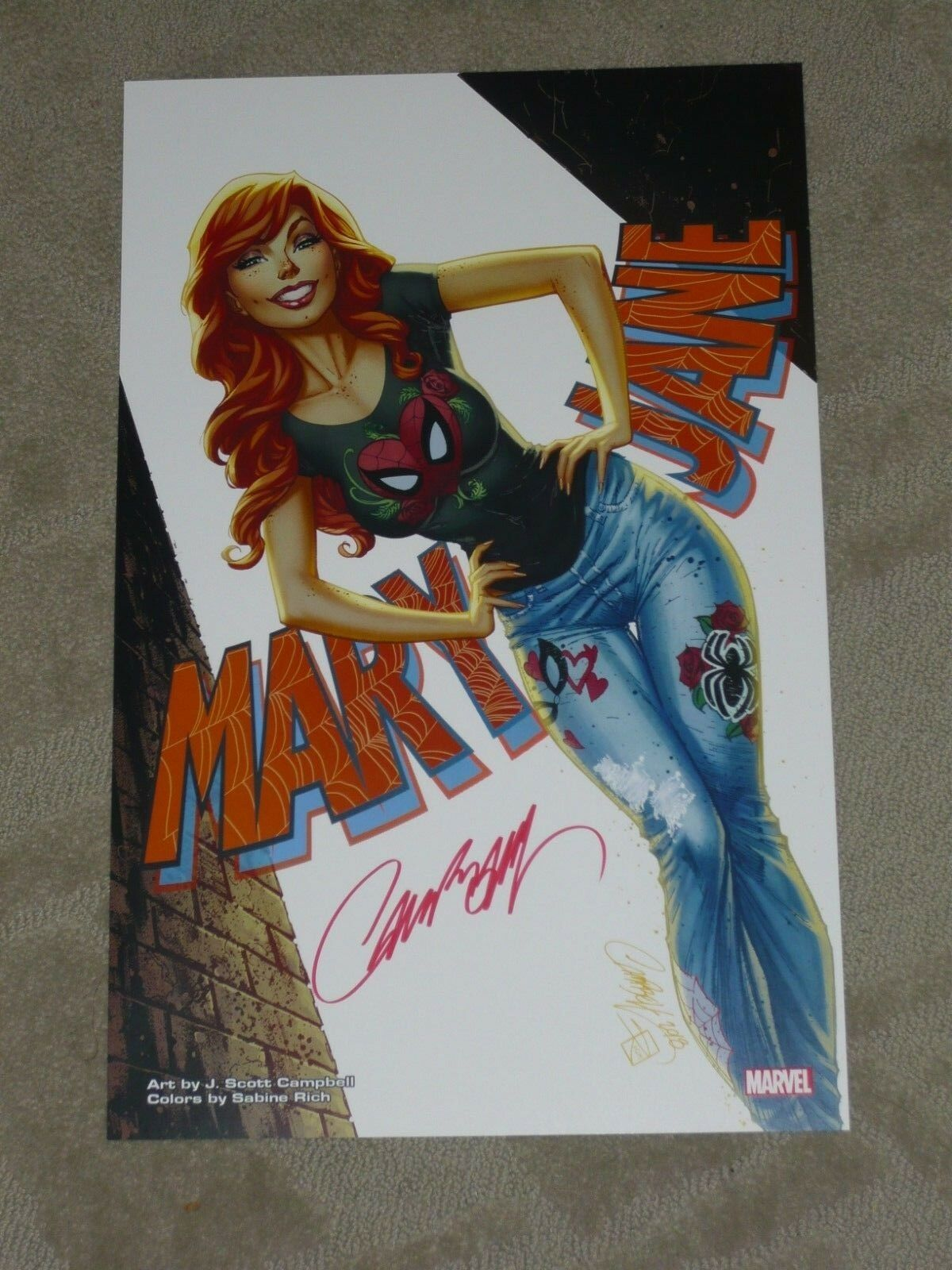 2018 NYCC SPIDERMAN /'S GWEN STACY ART PRINT SIGNED BY J SCOTT CAMPBELL 11x17