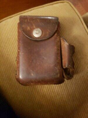 VINTAGE TOOLED LEATHER Belt Buckle Cigarette CASE w Side pocket for a LIGHTER