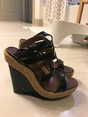 CHRISIAN LOUBOUTIN BLACK STRAPPY PLATFORM WEDGES SIZE 36