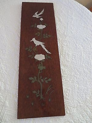 VINTAGE JAPANESE LACQUER WOOD WALL HANGING GOLD SILVER METAL INLAY BIRDS  FLORAL