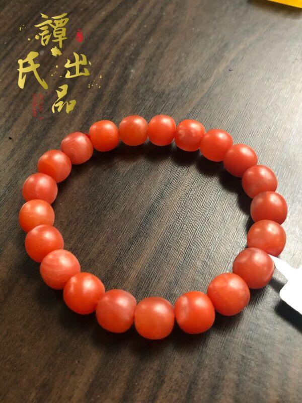 10×9mm Natural NanHong Agate Bracelet 32.5g . 10mm老型保山南红手串