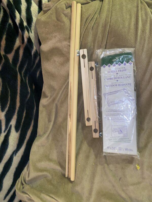 "9"" x 24"" Wooden Scroll Frame Needlework Cross Stitch"