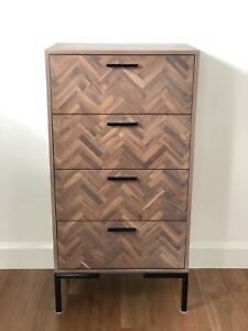 Curious Grace 4 drawer cabinet in lime washed walnut parquet