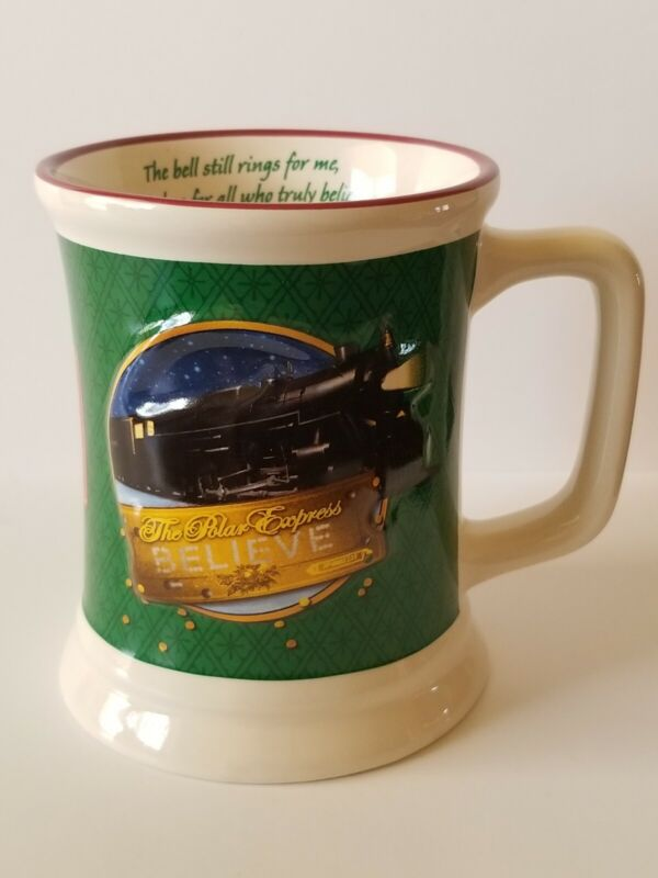 "The Polar Express ""Believe"" Christmas Coffee Cocoa Mug Cup Green"