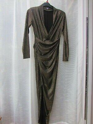 JOHN ZACK  Gold/ Black   Metallic  V Plunge Bodycon Dress ~ Size 12