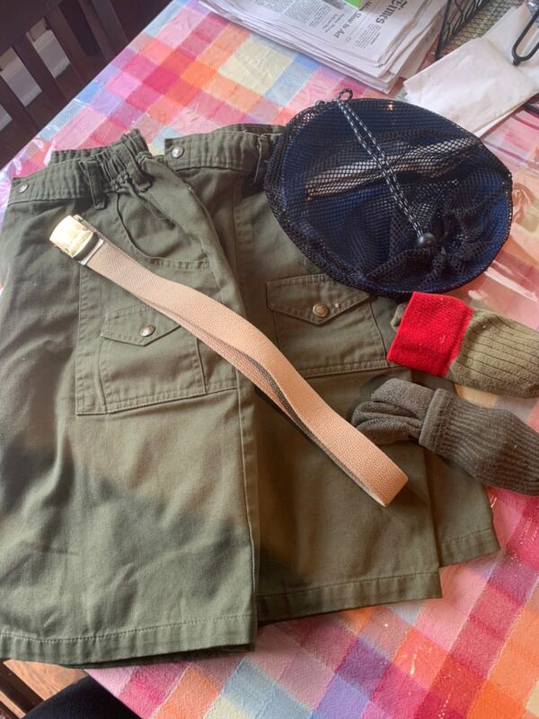 Boy Scouts Shorts Bundle Two Pairs Sz 31 Green,Pockets, 2 Socks, 1 Belt, Etc.