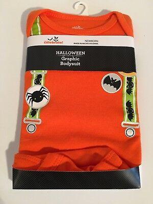 Halloween Graphic Suspenders Size Newborn Orange Bats Long Sleeve Bodysuit NEW](Halloween Graphics Bats)