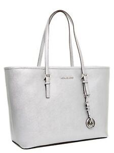 d1401053d855 Michael Kors Jet Set Travel TZ Medium Silver Tote for sale online | eBay