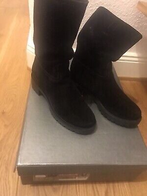 Boots Stiefel Prada Biker 37,5 Schwarz Black Wow Leder Wildleder Leather