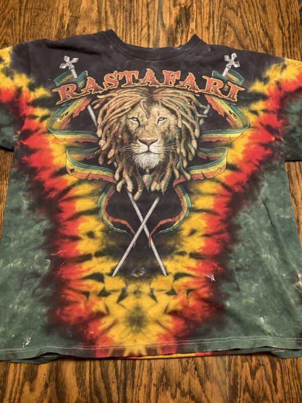 Vintage 90's RASTAFARI Tie-Dye Tshirt Delta Pro Weight Lion Reggae Distressed