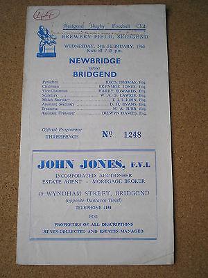 1965 BRIDGEND v NEWBRIDGE programme
