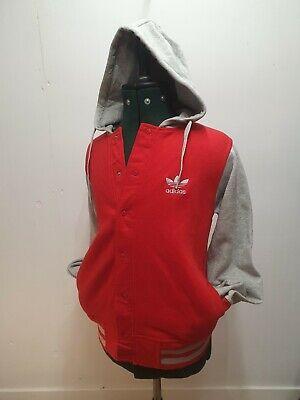 Adidas varsity jacket Hoody Hoodie Jumper Coat Top red grey sweatshirt size S