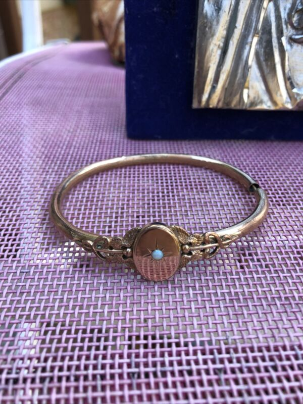 ANTIQUE VICTORIAN  REVIVAL GOLD FILLED BRACELET w/OPAL - FREE SHIPPING
