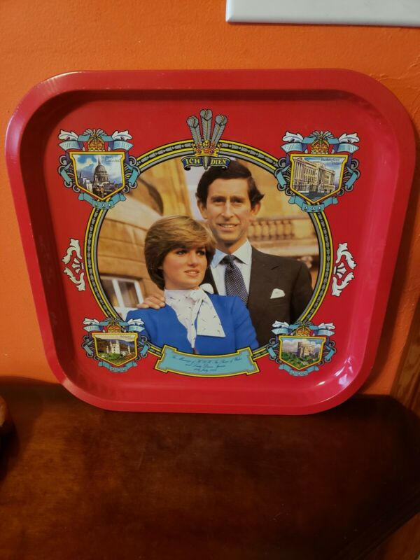 Vintage Prince Charles & Princess Diana Serving Tray 13.5 in x 13.5 in Giftcharm