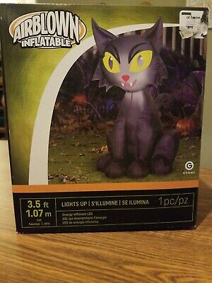 HALLOWEEN BLACK CAT HAUNTED HOUSE CEMETARY INFLATABLE AIRBLOWN 3.5 FT