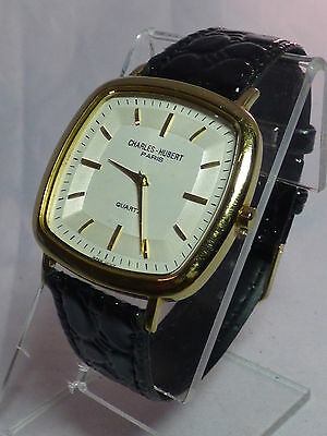 Charles-Hubert Paris Mens Premium Collection Gold-Plated Stainless Steel ()