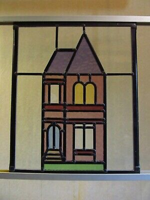 Newly crafted TRADITIONAL Stained Glass Window Panel PERIOD HOUSE 255mm x 310mm