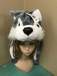 7120a978029 Gray WOLF Dog Plush Fur Animal Head HOODIE HAT furry winter ear flap  Laplander