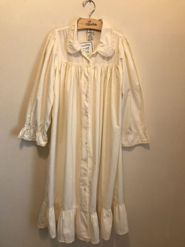 Cornelloki Vintage Victorian girls L/S ruffle hem nightgown petticoat robe 9-10