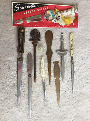 Vintage Lot of 9 Mixed Type & Size Collectible Letter Openers, Rare Advertising