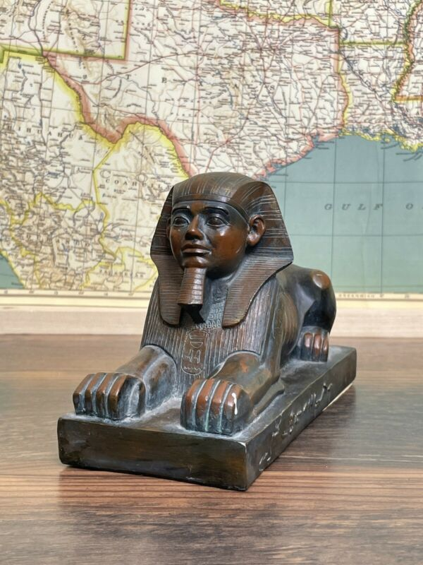 "Egyptian Sphinx King Ammenemes II Pyramid Statue Figure 8""x5"""