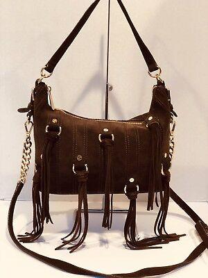 Presley Brown Leather - Michael Kors Presley Brown Suede Fringe Tassel Shoulder Bag Crossbody
