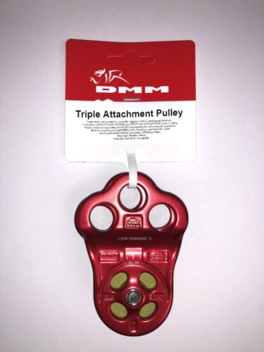 "DMM HITCH CLIMBER TRIPLE ATTACHMENT PULLEY - 1/2"" ROPE - 30KN - RED #PUL100RD"