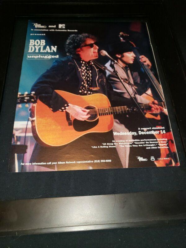 Bob Dylan MTV Unplugged Rare Original Radio Promo Poster Ad Framed!