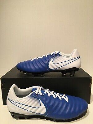 Nike ID Tiempo Ligera IV FG Soccer Cleats Blue White Black size 9.5 AT3459 (Nike Mens Tiempo Ligera Iv Fg Soccer Cleats)